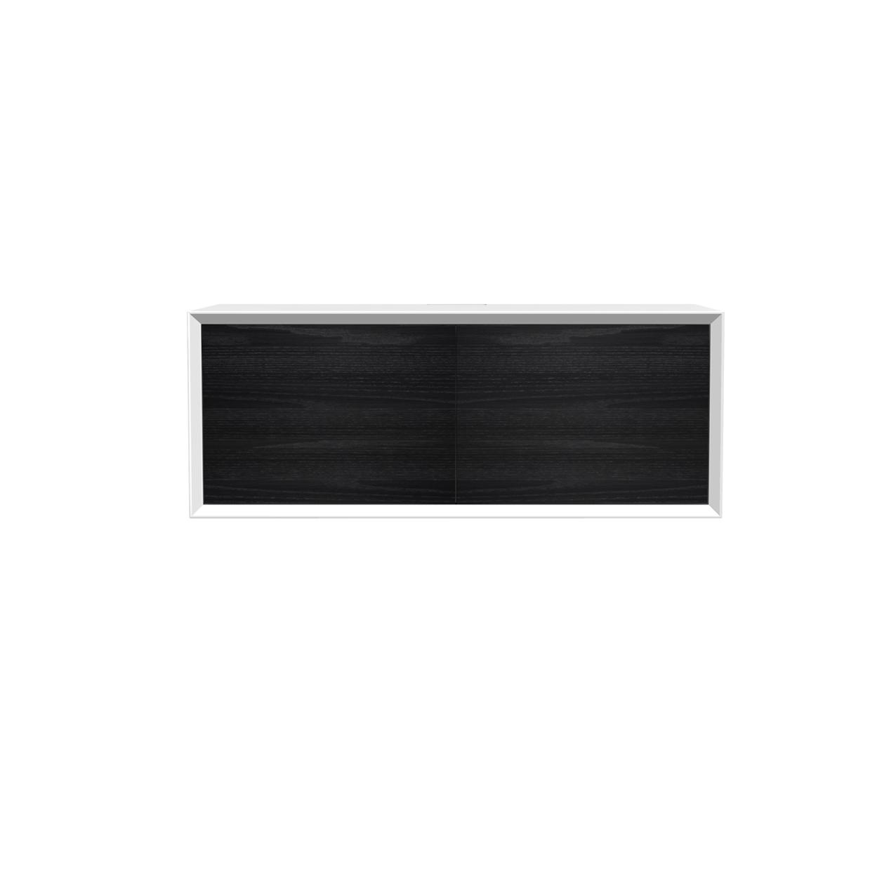 Vägghängd Tv-bänk New Air vit 103 cm, svarta luckor.