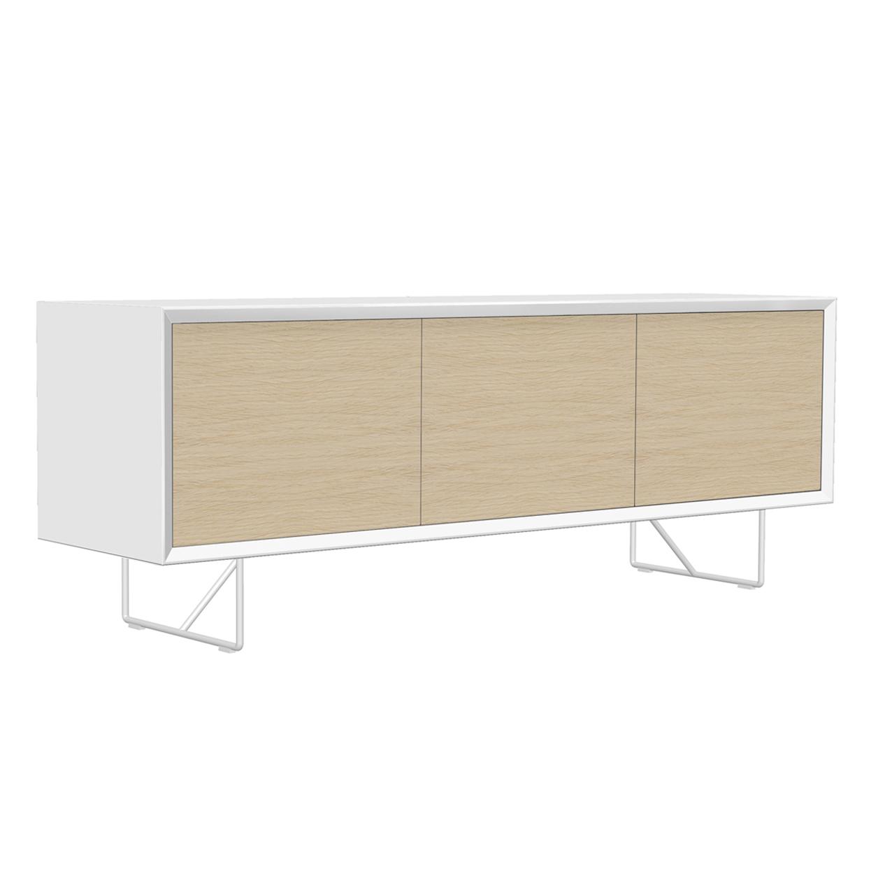 Tv-bänk New Air vit med dörrar i ask, och vita metallben.