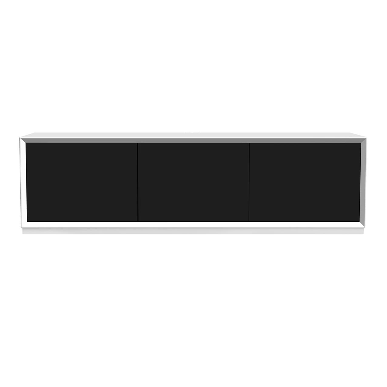 New Air tv-bänk vit 152 cm med dörrar i svart och golvsockel.