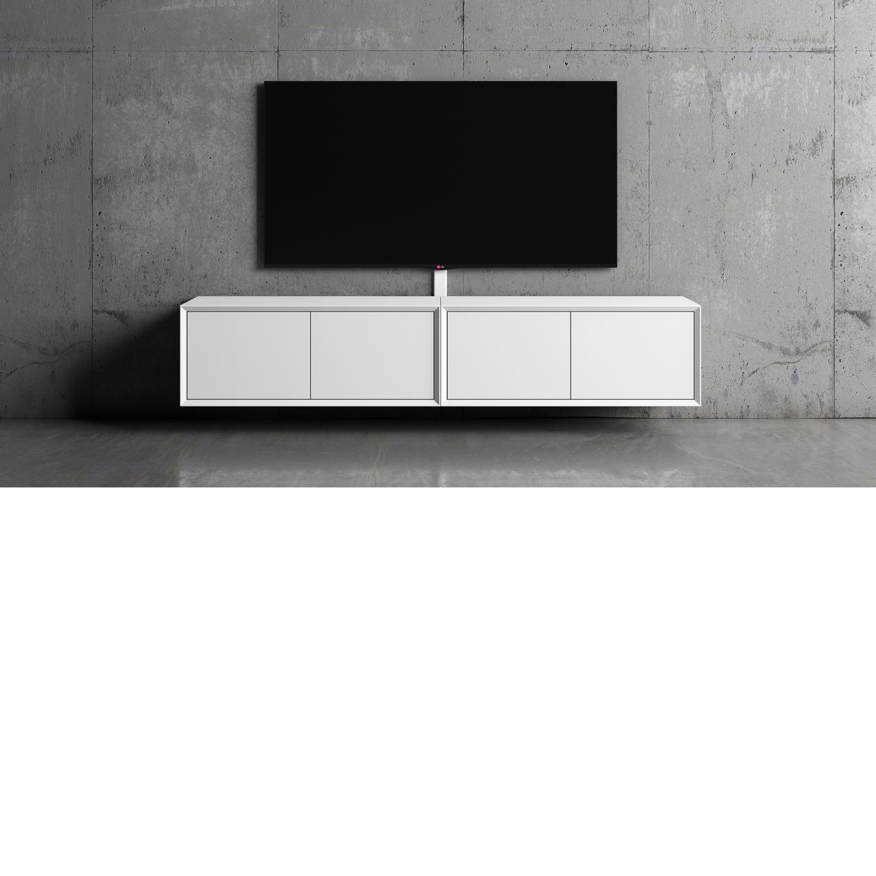 Tv möbler, Tv-bänk New Air 103 cm vit/vit mdf vägghängd.