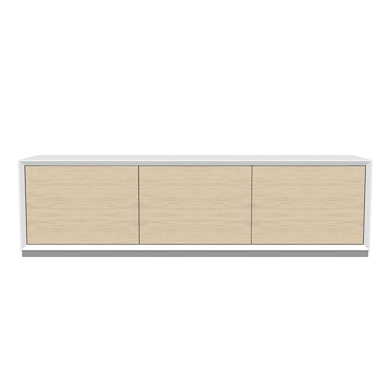 Tv-bänk New Air vit, med dörrar i ask ståendes på en sockel.