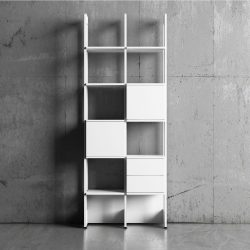 Modern Bokhylla Stripe Byggbar 2 sektioner vit