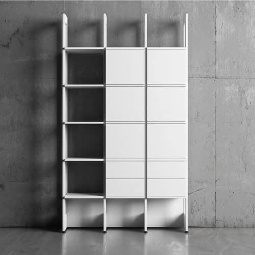 Bokhylla Stripe Byggbar 3 sektioner vit