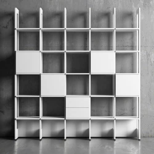 Bokhylla Stripe 5 sektioner vit