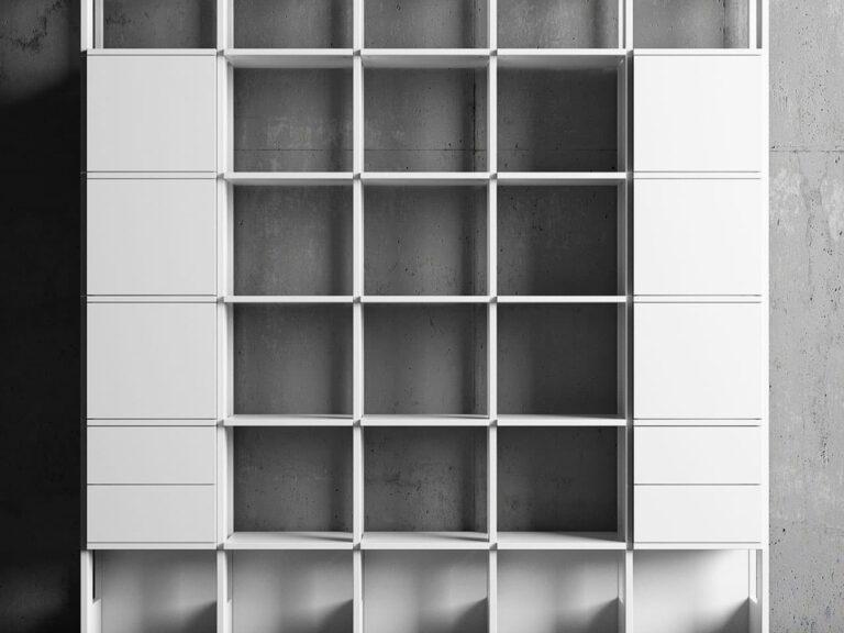 Modern Bokhylla Stripe 5 sektioner vit