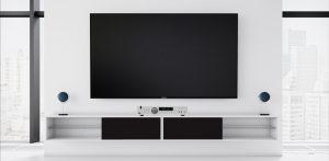 Vägghängd tv bänk London vit 140 cm svart lucka